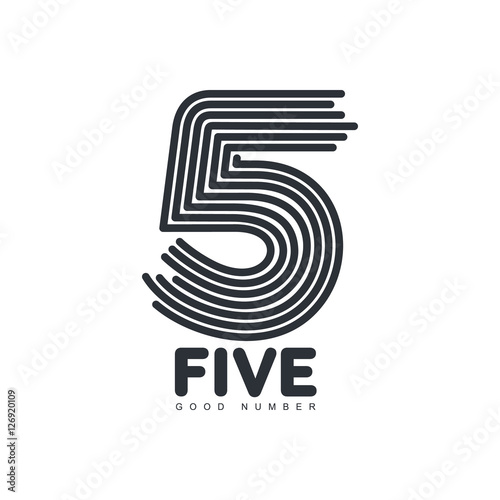 """Black and white number five logo template formed by ..."