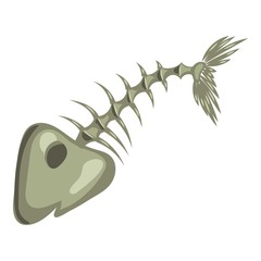 Fish bone icon. Cartoon illustration of fish bone vector icon for web