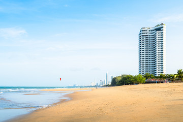 Pattaya city view from the beach in morning
