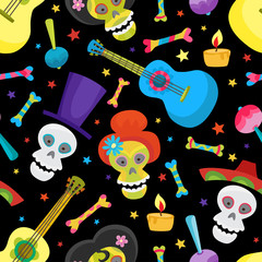 Seamless pattern with colorful skulls for day of the dead