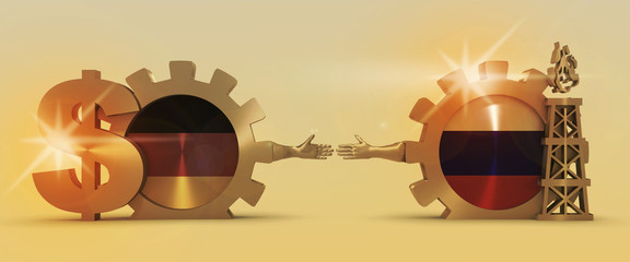 Image relative to gas transit from Russia to Germany. Business Handshake. 3D rendering. Lens flare effect. Gold material of a gears. National flags on golden cog wheels.