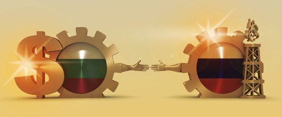Image relative to gas transit from Russia to Bulgaria. Business Handshake. 3D rendering. Lens flare effect. Gold material of a gears. National flags on golden cog wheels.