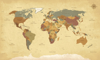 Deurstickers Wereldkaart Textured vintage world map - English/US Labels - Vector CMYK
