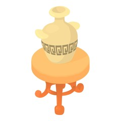 Vase on table icon. Cartoon illustration of vase on table vector icon for web