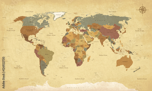 Textured vintage world map - English/US Labels - Vector CMYK ...