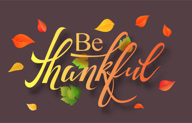 Postcard for Thanksgiving with autumn leaves design. Vector illustration EPS 10
