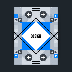 Poster template with futuristic geometric elements. Style of constructivism and modern art. Bright colors, simple shapes.
