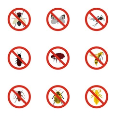 Insects sign icons set. Flat illustration of 9 insects sign vector icons for web
