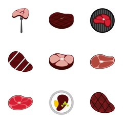 Meat icons set. Flat illustration of 9 meat vector icons for web