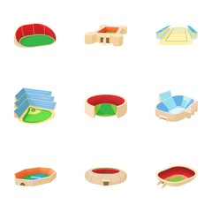Stadium icons set. Cartoon illustration of 9 stadium vector icons for web