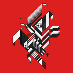 Abstract geometric element on red background. Style of futurism and constructivism. Useful as prints or posters.