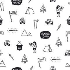 Outdoor adventures doodle pattern