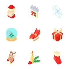New year icons set. Cartoon illustration of 9 new years vector icons for web