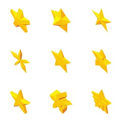 Types of stars icons set. Cartoon illustration of 9 types of stars vector icons for web