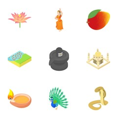 Holiday in India icons set. Cartoon illustration of 9 holiday in India vector icons for web