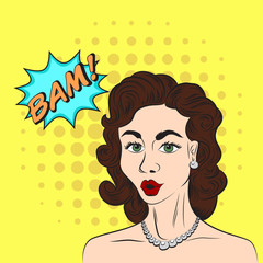 Pop art style sketch of beautiful brunette woman saying BAM! on yellow background