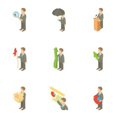 Management icons set. Cartoon illustration of 9 management vector icons for web
