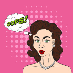 Pop art style sketch of beautiful brunette woman saying OOPS! on pink background