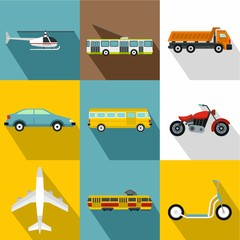 Trip on transport icons set. Flat illustration of 9 trip on transport vector icons for web