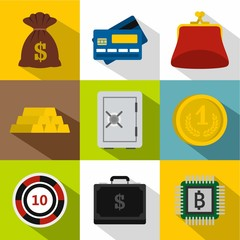 Finance icons set. Flat illustration of 9 finance vector icons for web