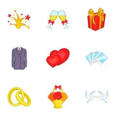 Wedding celebration icons set. Cartoon illustration of 9 wedding celebration vector icons for web