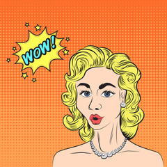 Pop art style sketch of beautiful blonde woman saying WOW! with half-tone pattern background