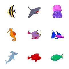 Ocean fish icons set. Cartoon illustration of 9 ocean fish vector icons for web