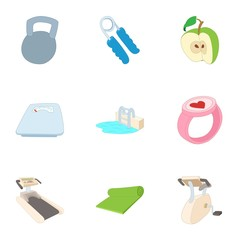 Fitness icons set. Cartoon illustration of 9 fitness vector icons for web