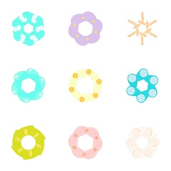 Flowers icons set. Cartoon illustration of 9 flowers vector icons for web