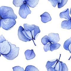 Blue seamless watercolor hydrangea floral pattern. May be used for wedding invitation or greeting card template, fabric print,