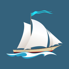 Yacht on the Waves, Sailing Vessel at Sea, Travel Concept , Vector Illustration