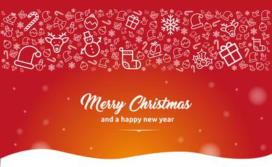 Weihnachten: Vektor Motiv für Grußkarte mit kleinen Icons und Typo. Neujahrs Glückwünsche