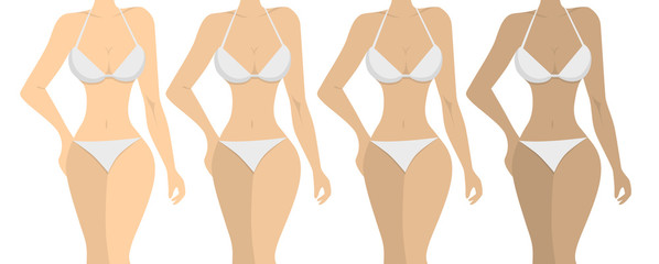 Stages of tanning. ISolated women on white background. Girls with different skin tones.