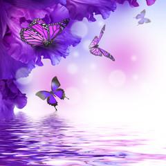 Fototapete - Amazing butterfly fairy of flowers, hydrangeas and iris.