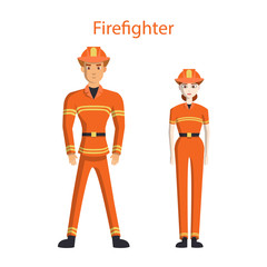 Isolated professional firefighters on white background. Male and Female firefighters in uniform and hardhats.