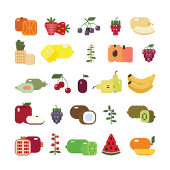 Isolated fruits set. Colorful sweet fruits on white background. All kinds like melon, kiwi, bananas, apples and others.