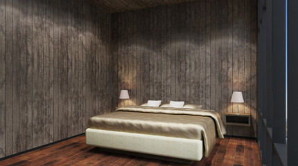 The Bridal Suite. Bedroom. 3d interior rendering.