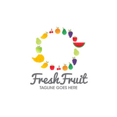 fresh fruit logo icon concept vector template