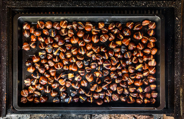 Roasting grilled Chestnuts on barbecue with flames, fire and cha