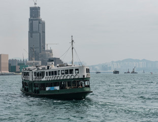Ferry puts on in the pier of Viktoria harbour Hong Kong