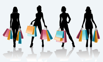 Female black silhouette with shopping bags
