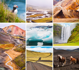 Iceland nature collage