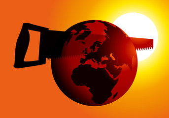 Terre coupée en deux - Scie - environnement