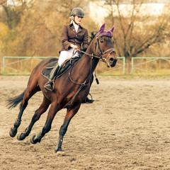 Sportswoman riding horse on equestrian competition