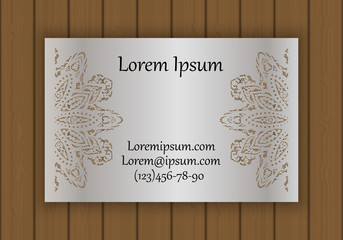 Business or visiting card template with a cut out pattern. May be used for laser cutting from paper, metal, wood.