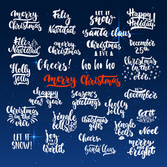 Lettering Christmas and New Year holiday calligraphy phrases photo overlays set isolated on the shining background with stars. Fun brush ink typography for illustrations, t-shirt print, poster design.