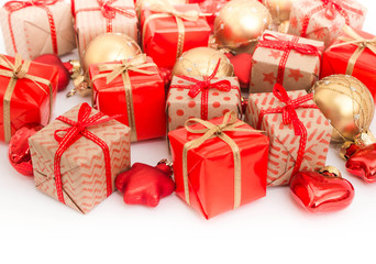 Christmas or New Year background: gifts, colored glass balls, decoration on white background