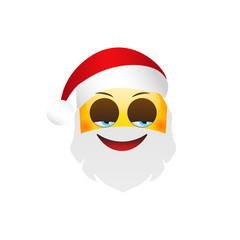 Emoji Santa Claus. Winter Holidays Emoticon. Cunning Character