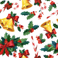 Seamless watercolor Christmas background with holly, golden bells, candy cane and red ribbon. May be used for wrapping paper, card or textile design