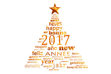 2017 new year multilingual text word cloud greeting card in the shape of a christmas tree